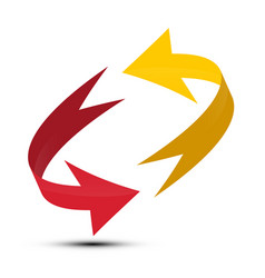 red and yellow arrows spinning in circle double vector image