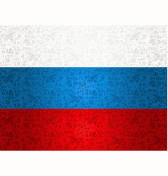 Russia flag background with traditional icons vector