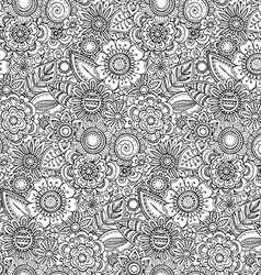 Seamless floral pattern with hand drawn fancy vector