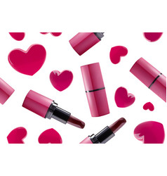 seamless lipstick and hearts vector image