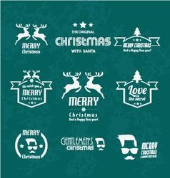 set christmas vintages for christmas vector image