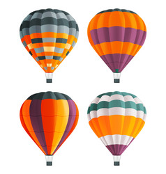 set four colorful hot air balloons aircraft vector image