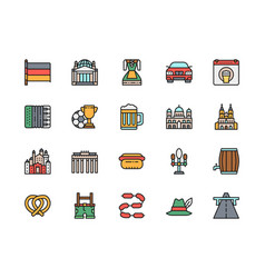 set german culture flat color icons highway vector image