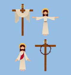 Set icons christianity religious symbol vector