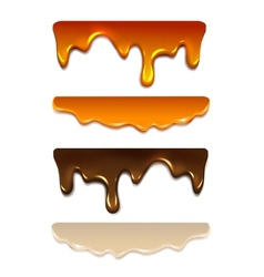 Set Melting chocolate milk cream liquid caramel vector