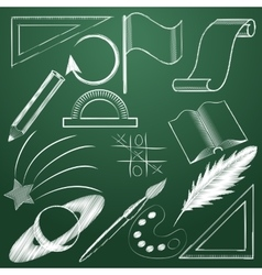 Set of educational symbols in chalk Icons on a vector image