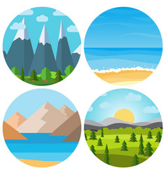set of four different cartoon landscape vector image