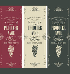 set wine label with bunches grapes vector image
