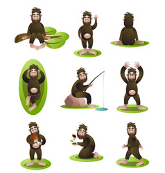 Set yeti or bigfoot character in different vector