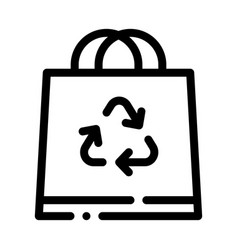 shopping bag with handle and recycle mark vector image
