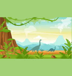 silhouette dinosaurs on vector image