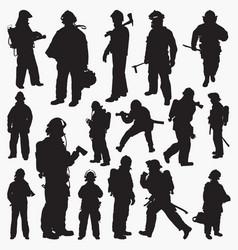 silhouettes fireman vector image