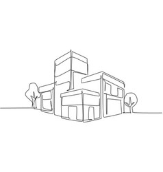 Single continuous line drawing luxury house vector