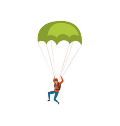 Skydiver descending with a parachute in the sky vector
