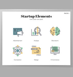 start up elements linecolor pack vector image