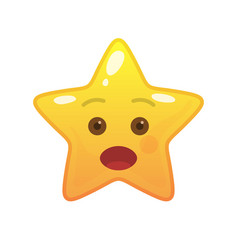 surprised star shaped comic emoticon vector image