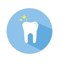 Tooth icon in flat style with long shadow vector image