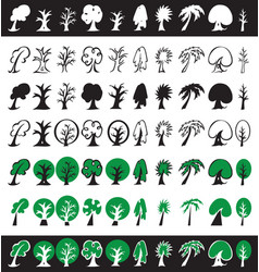 trees icons silhouettes and symbols vector image