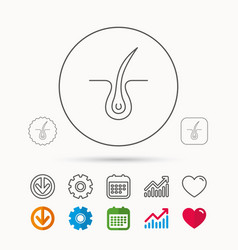 Trichology skin icon dermatology hair sign vector
