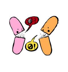 two pills characters coronavirus concept grunge vector image