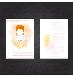 Two side flyer woman in turban vector image