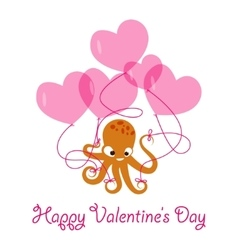 Valentines day banner with octopus vector image vector image