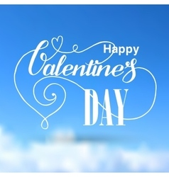 Valentines day lettering blue card vector image