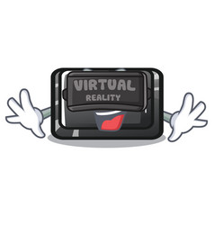 Virtual reality tab button attached to cartoon vector