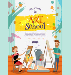 Visual art school classes offer poster vector