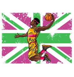 Watercolor silhouette basketball player vector