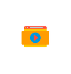 Website video icon flat element vector