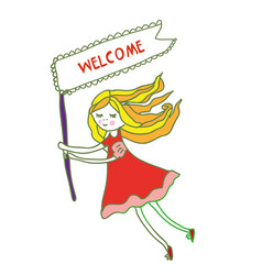 welcome banner with small girl for kids - sketchy vector image