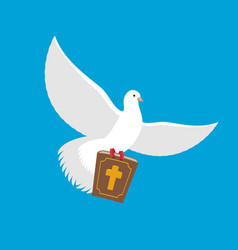 White dove and bible pigeon and holy book religion vector