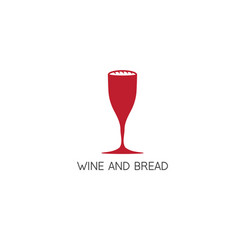 wine glass and bread in it design template vector image