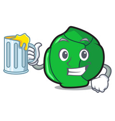 With juice brussels mascot cartoon style vector