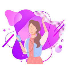 woman enjoying music from headphones mp3 vector image