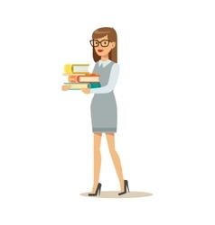 Woman In Glasses Carrying Pile OF Books Smiling vector