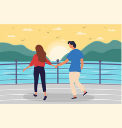 Young couple walking together on sea promenade vector