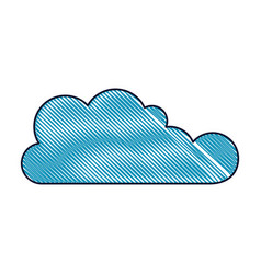 cloud icon flat in colored crayon silhouette vector image