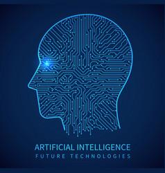 cyborg head with circuit board inside artificial vector image vector image