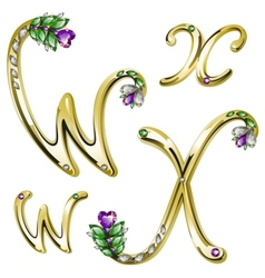 Gold alphabet with diamonds and gems letters WX vector image vector image