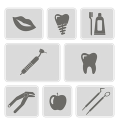 monochrome icons with dental symbols vector image vector image