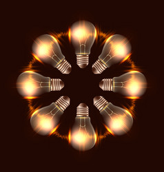 round frame of realistic light bulbs with light vector image vector image