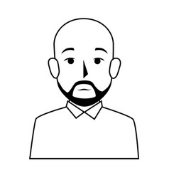 silhouette half body bald man with beard vector image vector image