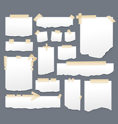 white paper sheets with scotch tape set sticky vector image