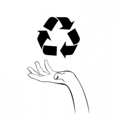 caring hand with recycle icon vector image vector image