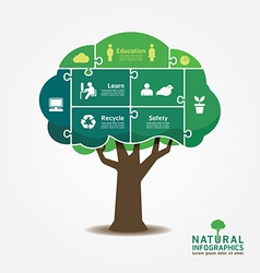 Infographic green tree jigsaw banner vector