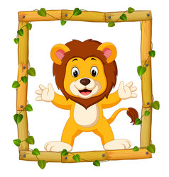 lion on the wood frame with roots and leaf vector image