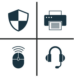 notebook icons set collection of computer mouse vector image vector image