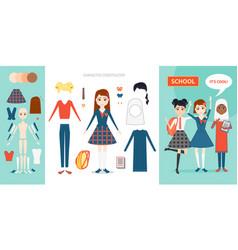 schoolgirl character constructor set cartoon vector image vector image